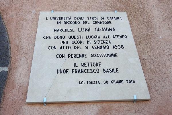 Una targa sull'Isola Lachea per il Marchese Luigi Gravina