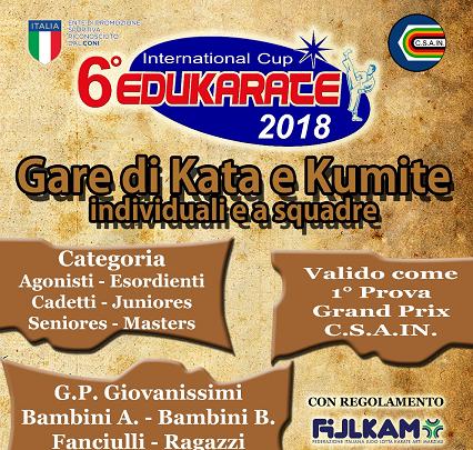 Domenica al via la Sesta edizione dell'EduKarate Cup Csain