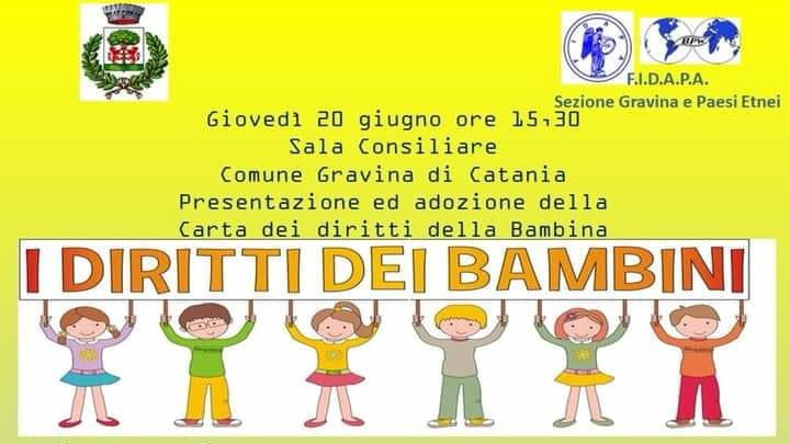 La F.I.D.A.PA. di Gravina e dei paesi etnei, accoglie la Carta dei Diritti della Bambina.