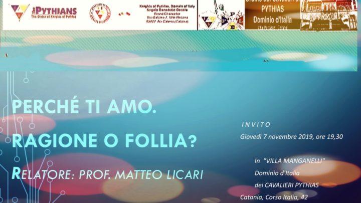 Meeting  sul perchè si ama, il 7 Novembre prossimo a Catania.