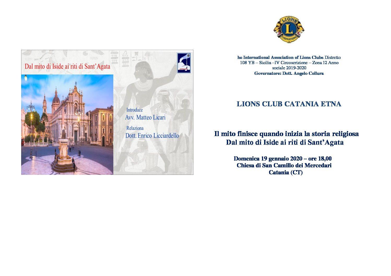 Lions Club Catania Etna: evento culturale tra mito e storia religiosa.