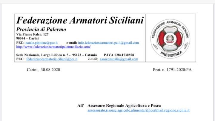 """Pesca: """"i bandi assegnazione fondi pubblicati in pieno ferragosto"""". La Federazione Armatori Siciliani deposita un reclamo all'Assessore Bandiera e chiede l'annullamento ."""