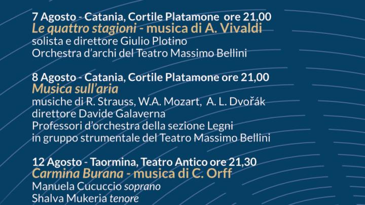 Sino alla vigilia di Ferragosto quattro concerti del TMB a Catania e Taormina