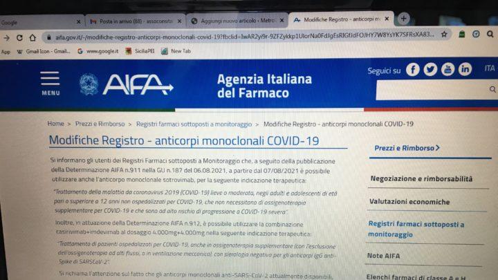 """Notizie dall'Agenzia italiana del farmaco: """"modifiche Registro – anticorpi monoclonali Covid 19"""""""